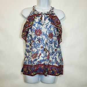 Point Sur By J.crew floral ruffle sleeveless top